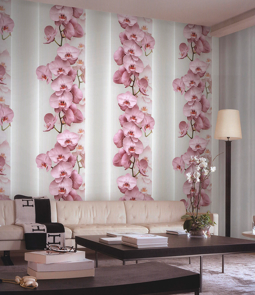Обои с орхидеями для стен фото интерьера спальни